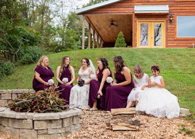 Having fun with bridal party