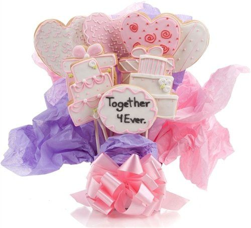 Wedding Cookie Bouquet. Choose our 5, 7, 9 or 12 pc arrangement of Cookie Blooms.