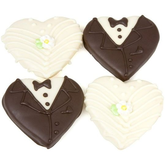Bride & Groom Cookies. It's a perfect couple of sweet cookies! They're decorated by hand with...