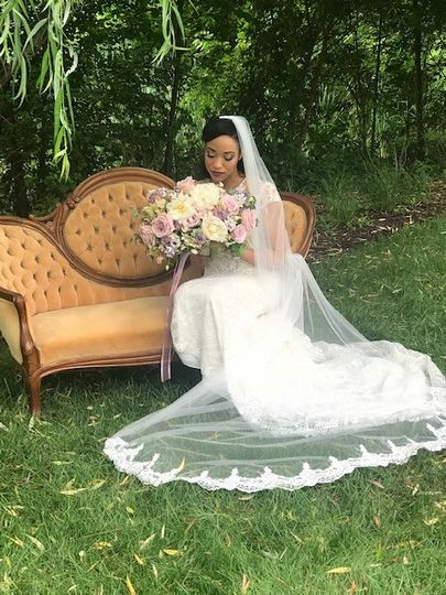 Royalty Hair Salon - bride relaxing on chaise