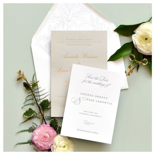 Classic white invitations