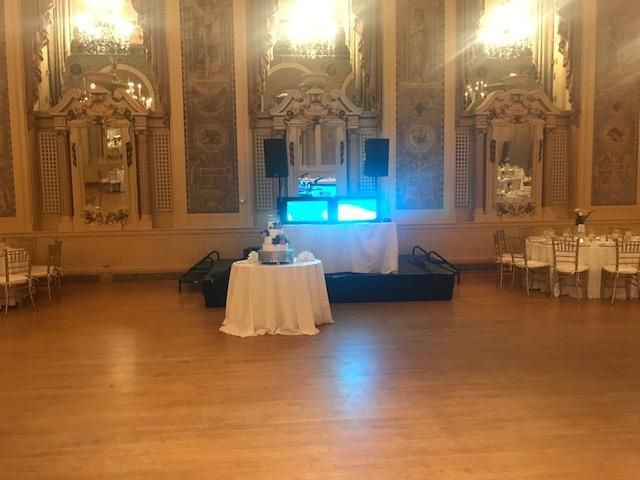 DJ booth in a ballroom