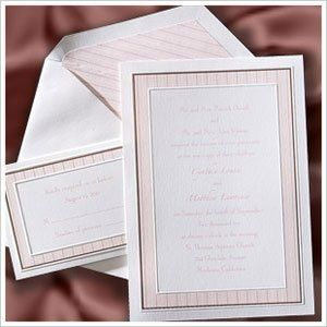 Pink and Brown Stripe Border Style:  W390  This bright white card with a thin mocha border