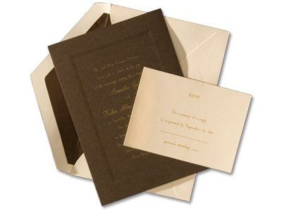 """Elegant in Brown Style:  W5082  This invitation is the meeting of a classic design with an """"in""""..."""