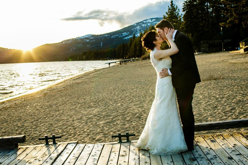 Lake Tahoe beach wedding.