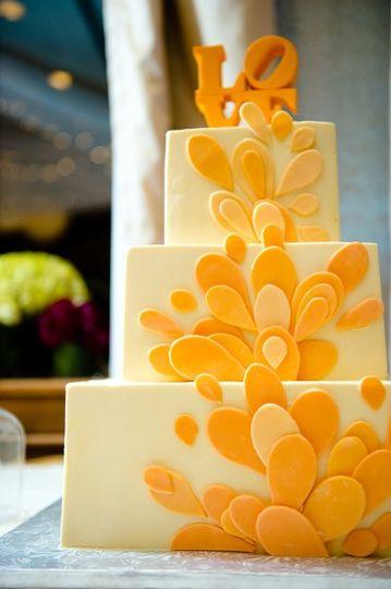 Yellow booming cake