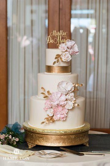Golden pink cake