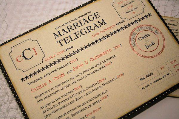Vintage Style Wedding Telegram