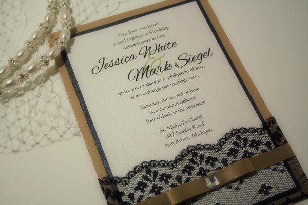 Vintage Style Lace Wedding Invitation
