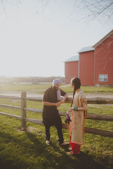 Couple by the barn