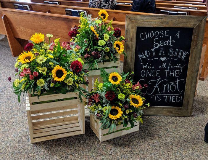 Rustic sunflower arrangements