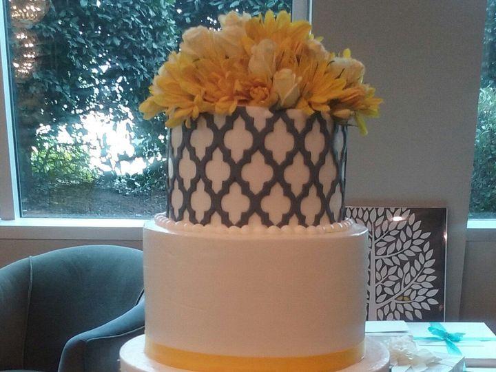 Tmx 1432849095150 Gray And Marigold Wedding Cake Atlanta wedding
