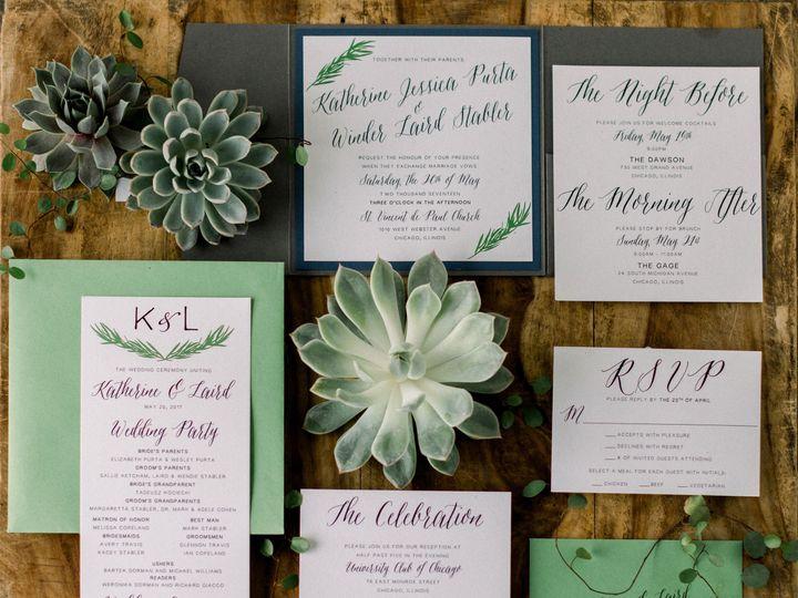 Tmx Simple Greenery 51 501485 Elgin, Illinois wedding invitation