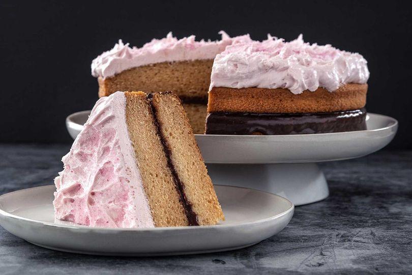 Vegan pink squirrel cake