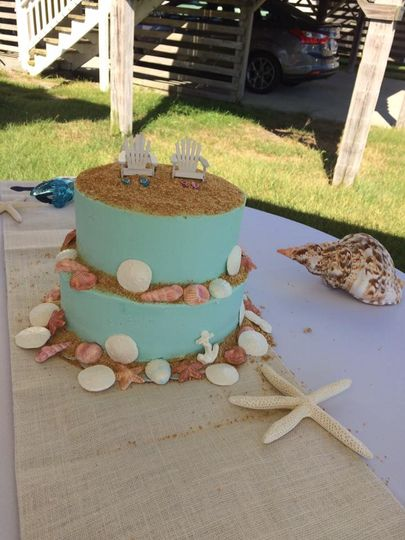 Blue beach themed cake