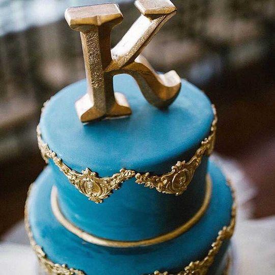 Blue gold wedding cake