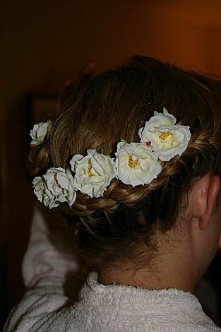 Flowers lining the hair