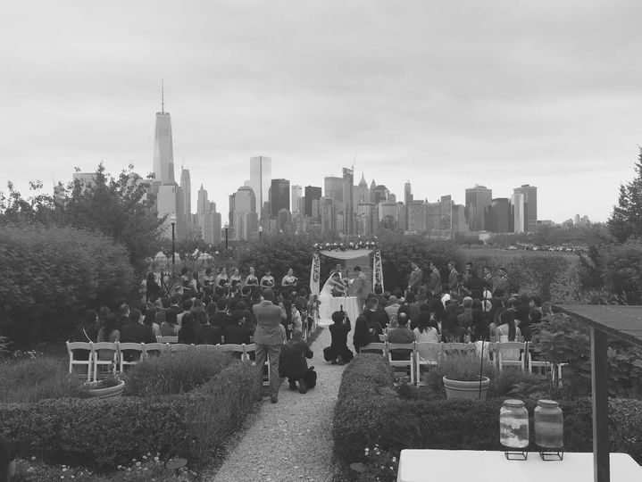 Wedding with a city backdrop