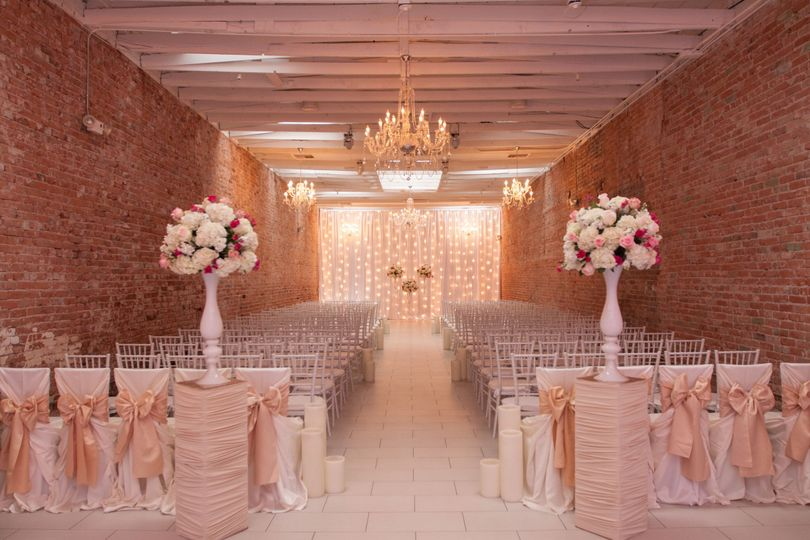 Blush themed ceremony setup