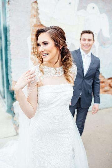 Groom behind the bride