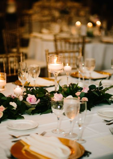 Romantic lighting on the tablescape