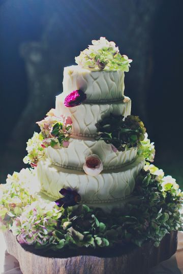 Custom wedding cake by the hotel's pastry shop