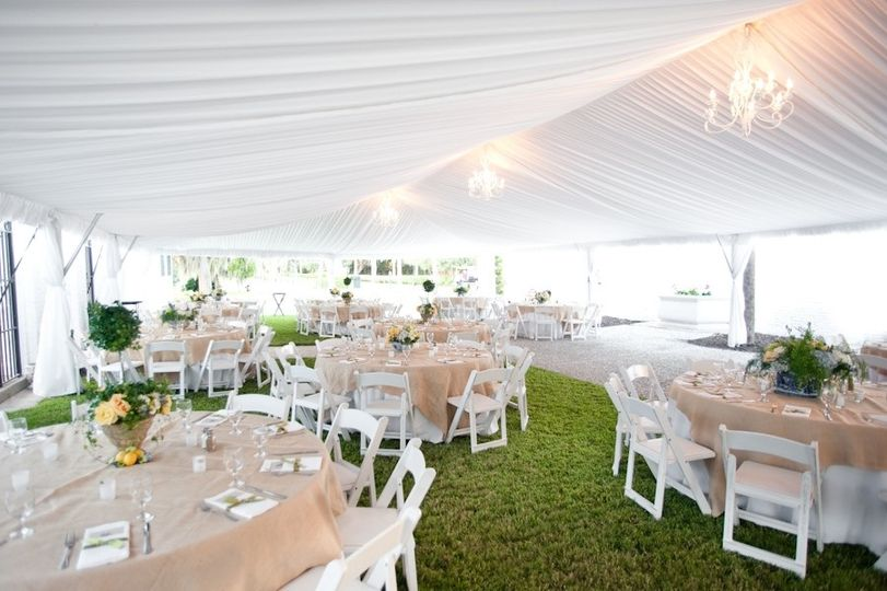 Formal tent next to crane cottage