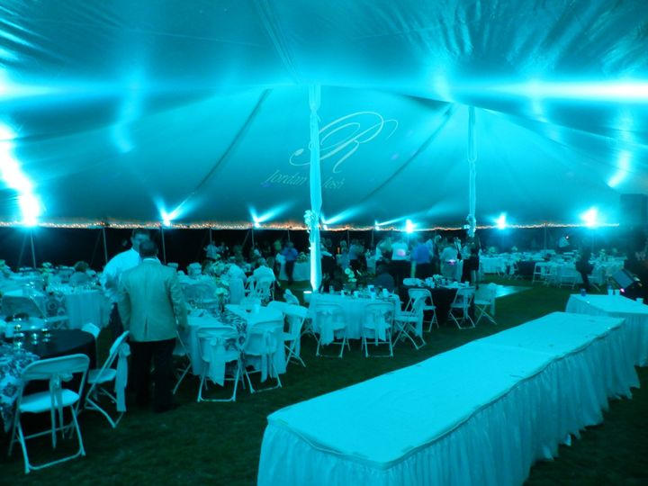 Blue tent lighting