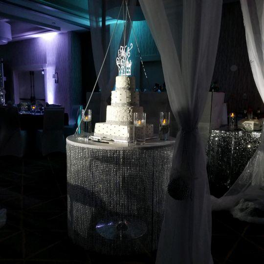 Crystal cake table $130