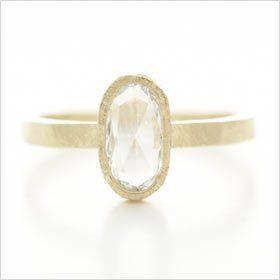 Hewn Solitaire  18k yellow gold w/ 8mm x 4mm rosecut diamond