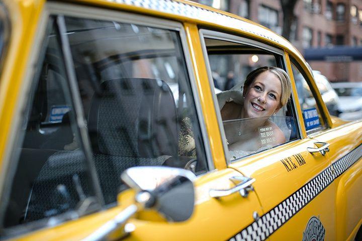 Bride in taxi cab