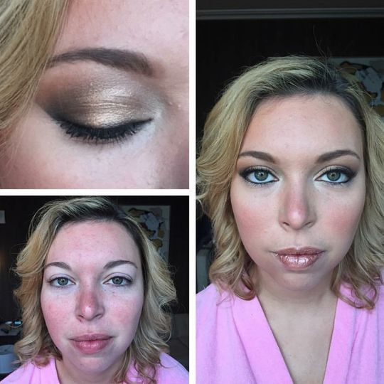 Wedding makeup with gold eyeshadow