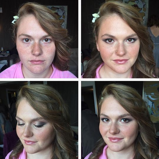 Wedding makeup with shimmery eyeshadow