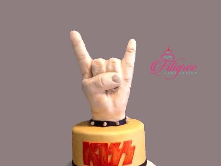 Tmx 3 Tier Rock Band Theme Wedding Cake With Rock On Hand Sign 51 1969485 159020385724218 Ponte Vedra Beach, FL wedding cake