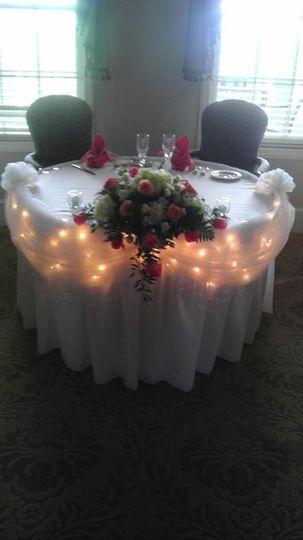 Table setup with lights