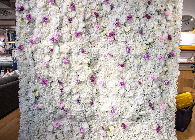 Lavender & White Flower Wall
