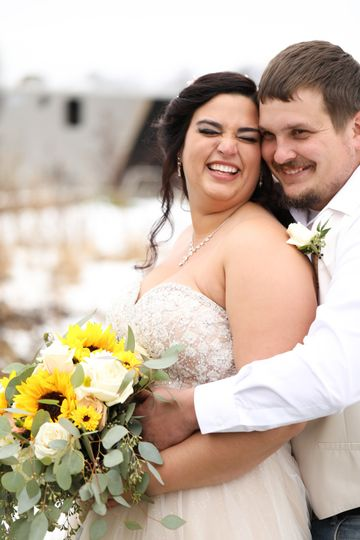 Newlyweds smile