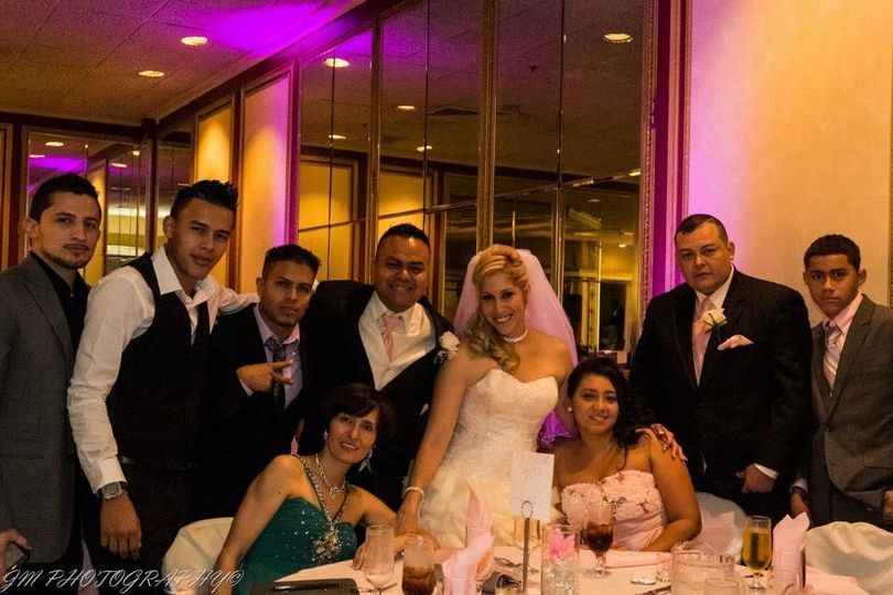 The couple with their guests