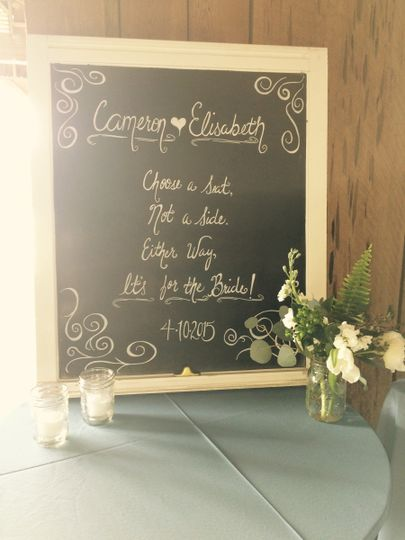 brides ceremony sign
