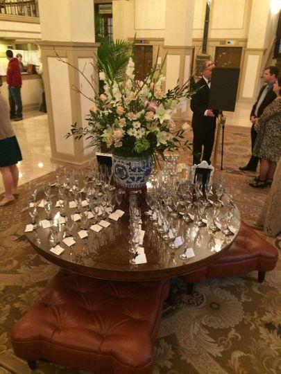 bauza champagne flute escort placecards