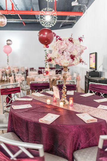 Round tables and chairs included in venue packages