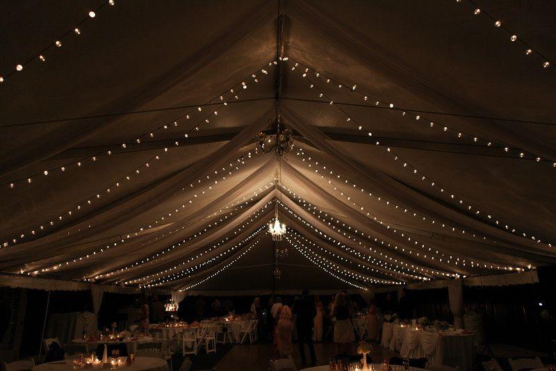 stone oak tent under lights