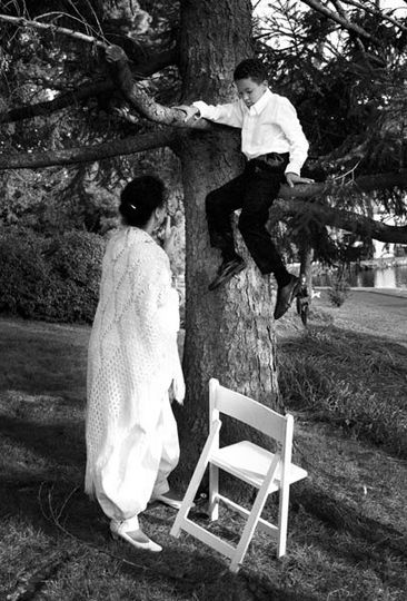 boy in tree gets in trouble with mother