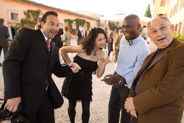 goofy wedding guests at wedding in tuscany, italy