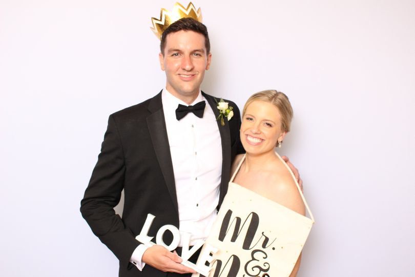 Newlyweds with props
