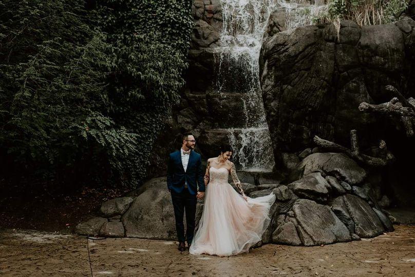 pink dress waterfall finding eden photography 51 387585 159372677423308
