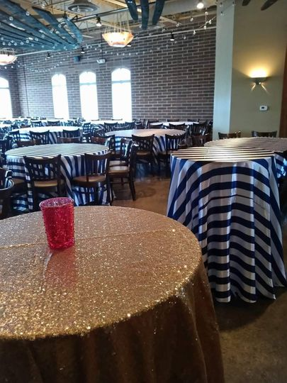 Navy and white striped linens