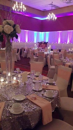 Silver sequin table linens