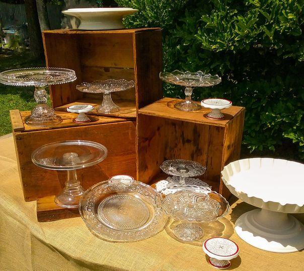 Vintage cake plates for displays