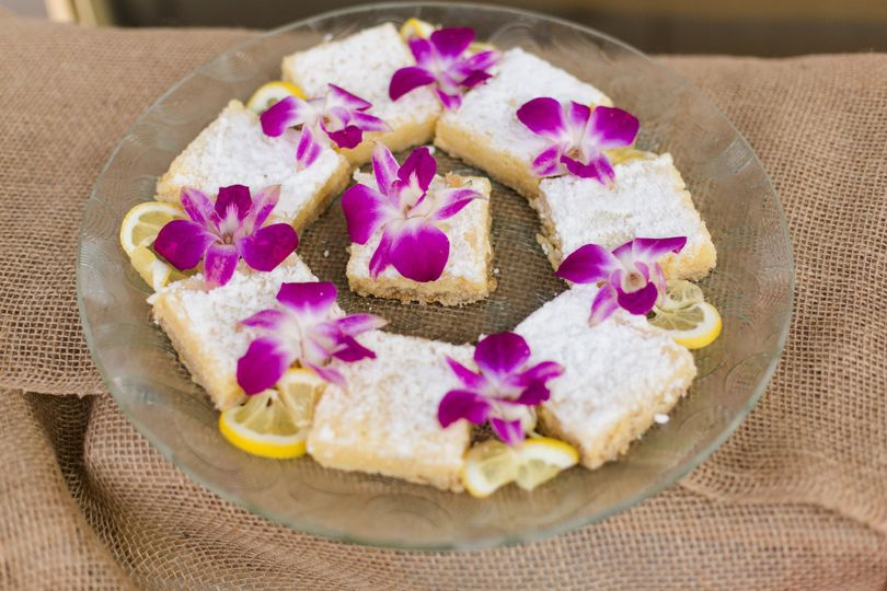 Edible flowers and lemon bars